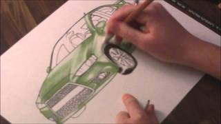 Mitsubishi Lancer Evolution Time Lapse Drawing