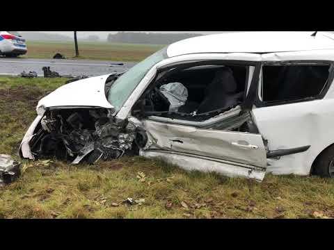 Wideo1: Wypadek dwóch aut na trasie Górczyna - Jędrzychowice