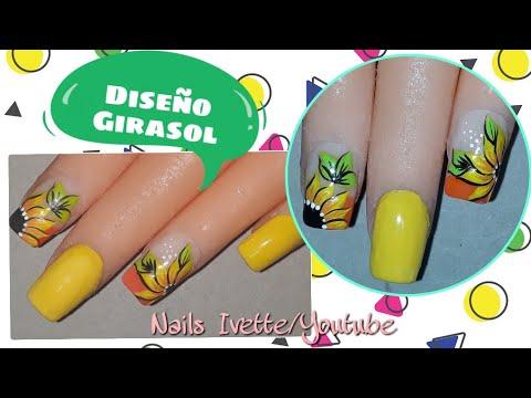Diseños de uñas - Decoración de uñas girasol/uñas con girasol fácil de hacer/diseño de uñas paso a paso
