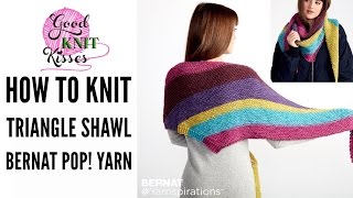"""Learn how to Knit a Triangle Shawl with long color changing yarn.  BLOG: http://www.goodknitkisses.com/bernat-pop-triangle-shawl/ This shawl is knit on the bias (from the side/diagonal) with Yarnspirations Bernat Pop! Yarn in the latest colors! This new pattern and yarn is sponsored by Yarnspirations.com.The main stitch is garter and has a series on increases and detritus with the simple knit stitch.  It is an EASY pattern and I will show you each step to work the entire shawl including weaving in the ends in garter stitch. You'll need to know already how to knit the basic knit stitch.  The cast on is only 2 stitches and I will show you how. I'll show you as well how to bind off (cast off) to get the yarn off the needles as well. You CAN do this and it only takes 2 balls for the project.  Makes a great gift!Pattern:Knit Triangle Shawl Pattern by Yarnspirationshttps://goo.gl/PMGTtd Supplies:Brent Pop! color Full Spectrum (sample) or Paisley Pop (sample on model) or any one of the new colors - 2 ballsUS 8 (5 mm) 36"""" circular needlesSkills and techniques covered:Cast onKnitK2tog - DecreaseKfb - IncreaseAdd ball of yarn on color changing yarnCast off (Bind off)Weave tailA special thank you to Yarnspirations.P.S.Loom option(s):Recommend - 7/16"""" SG Knitting Board 28"""" loom with peg extenders as it has enough pegs and should get similar gauge.OR - Any Small Gauge (SG) or Regular Gauge (RG) loom 3/8""""-9/16"""" C2C Peg spacing with at least 140-160+ pegs for the pillow pattern.On Even rows use purl stitch in p;ace of knit stitches.  When an increase of Kfb is called for don't convert to pfb, just use Kfb or a M1 increase as it is comfortable for you.  Just do the same consistently as it is all up one side only. RS or Odd rows are the RS on the loom and do not require converting. Happy Knitting!!Kristen at GoodKnit KissesWebsite                    Http://www.goodknitkisses.comThank you for subscribing & watching!Knit Along the Knit Triangle Shawl Pattern by Yarnspirations with Ber"""