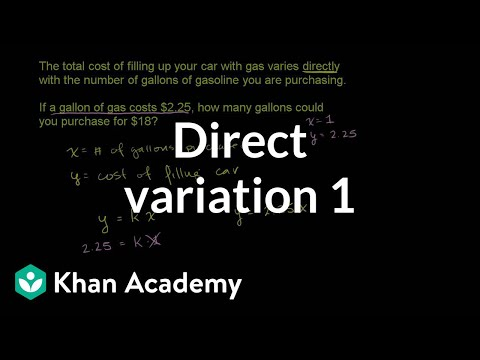 Direct Variation Word Problem Filling Gas Video Khan Academy