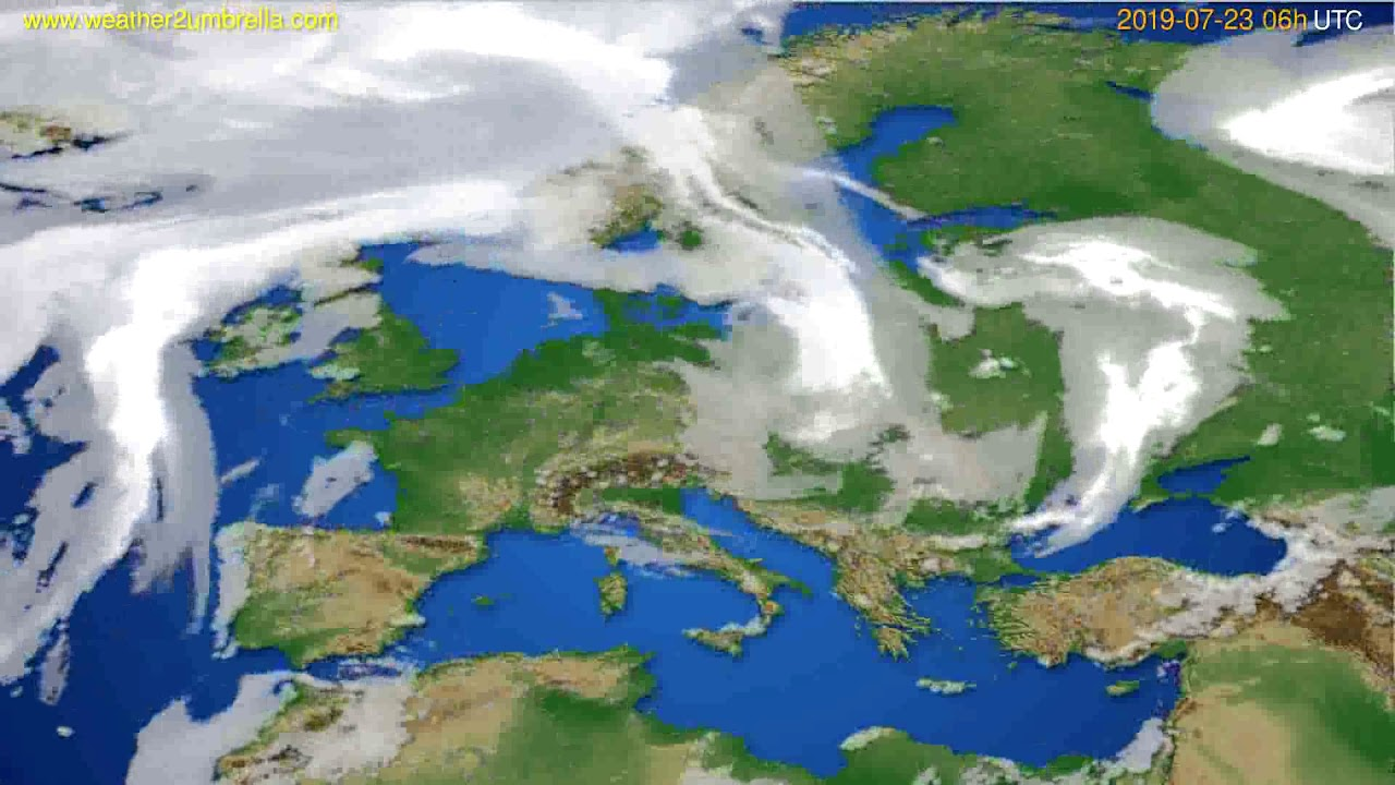 Cloud forecast Europe // modelrun: 12h UTC 2019-07-20