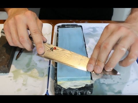 knife - How to sharpen a knife on a wet stone - how to get an extremely sharp knife Buy a Wet-Stone : http://makesushi.org/wet-stone/ Learn how to sharpen a Japanese...