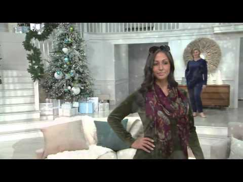 Denim & Co. Active Velour Tunic & Pant Set w/ Quilting Detail on QVC