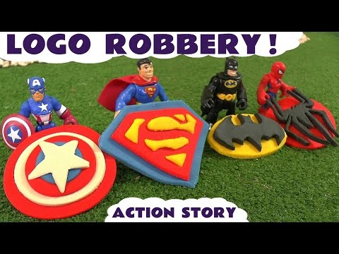Spiderman Batman Superman And Avengers Captain America Logo Robbery Thomas & Friends Play Doh Story