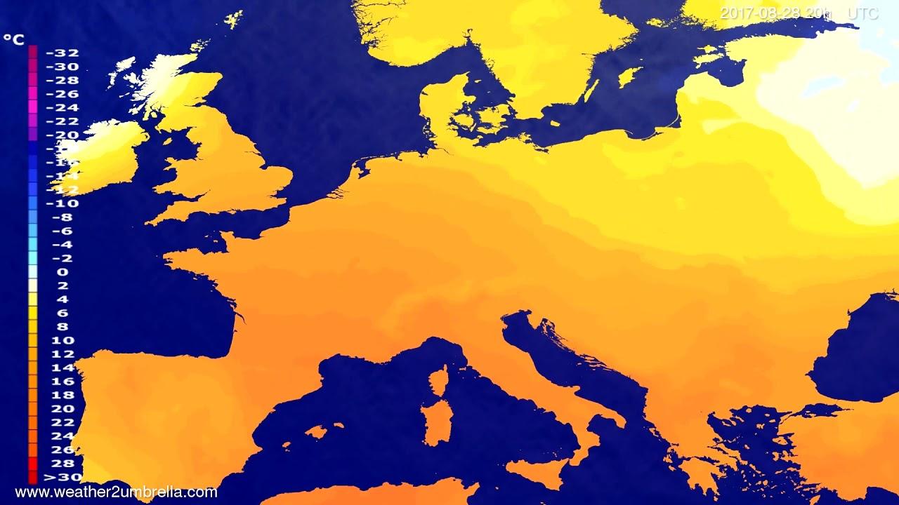 Temperature forecast Europe 2017-08-25