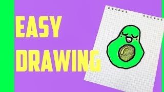 HOW TO DRAW A CUTE AVOCADO SUPER EASY AND KAWAII EASY DRAWING by Devlin Fox