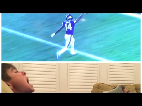 Saints fan reacts to the game winning touchdown vs Vikings in the playoffs
