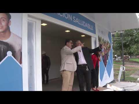 """El intendente """"Chuli"""" Jorge junto al ministro de Salud provincial, Gustavo Bouhid, supervisaron la obra de la futura Estación Saludable."""