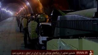 A televisão pública iraniana mostrou nesta quarta-feira pela primeira vez imagens de uma base militar subterrânea ,cheia de mísseis de diferentes tipos, situ...