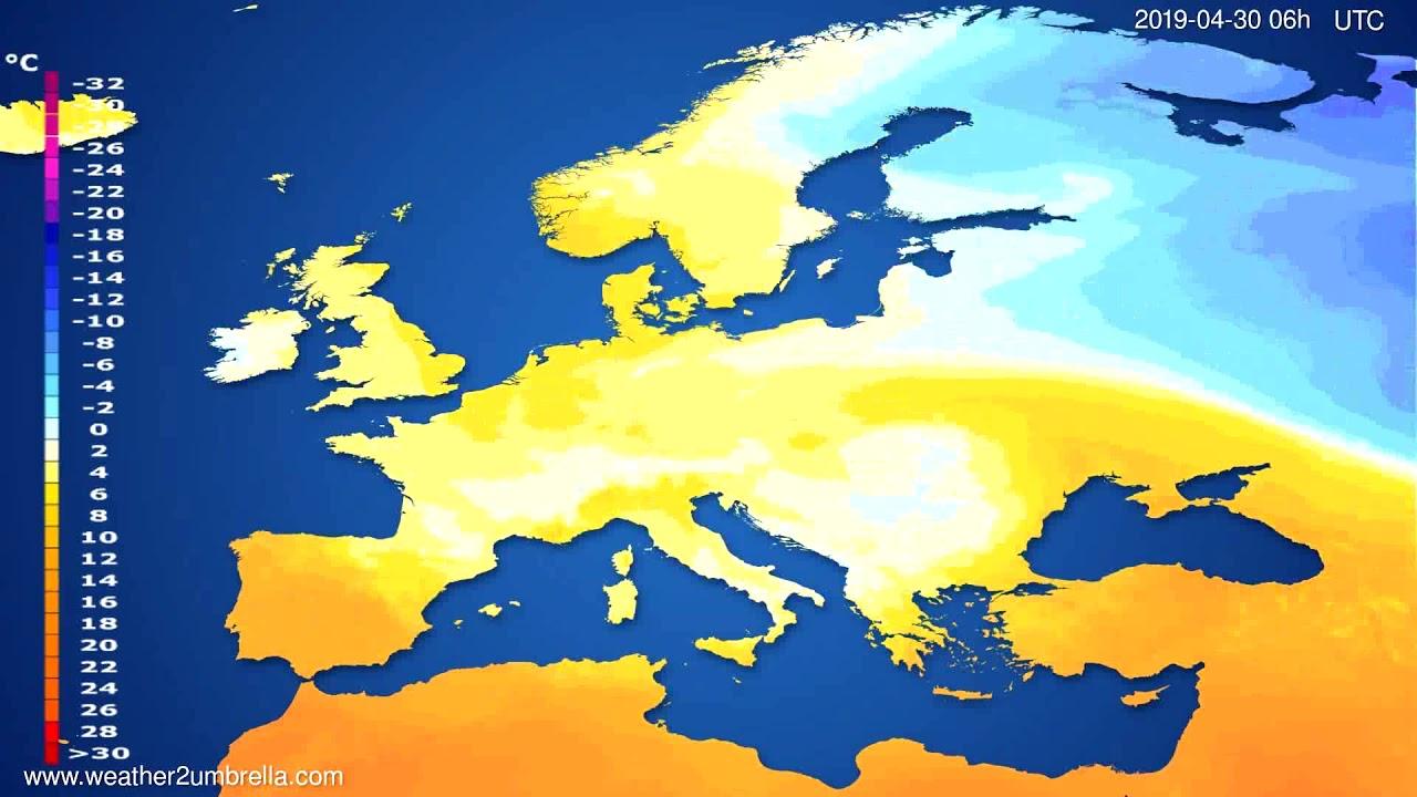 Temperature forecast Europe // modelrun: 12h UTC 2019-04-27