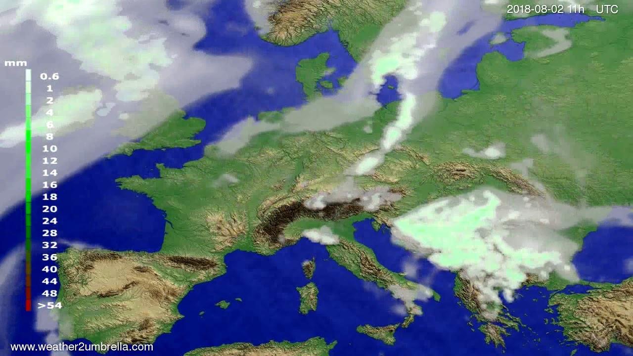 Precipitation forecast Europe 2018-07-30