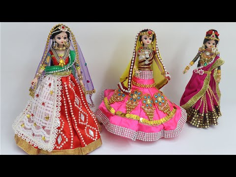 3 South indian bridal dress and Jewellery| Doll decoration with clothes