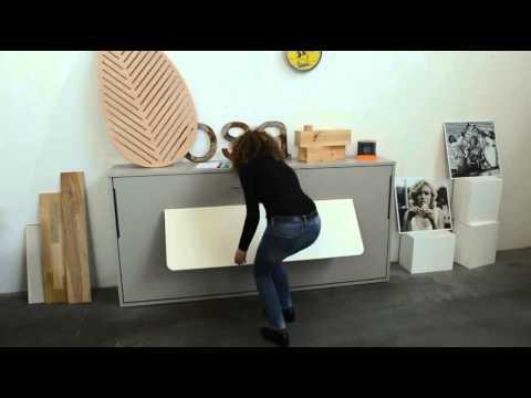 Vidéo lit et bureau escamotable Guizzo