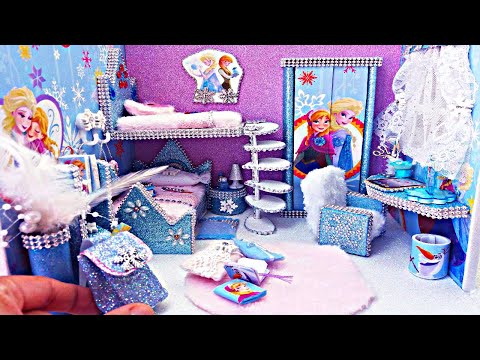DIY Miniature Dollhouse Room Frozen / Bedroom and backpack for Disney Princess Elsa and Anna