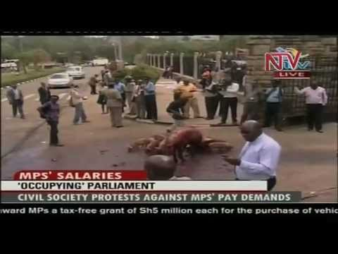 kenya - http://ntvuganda.co.ug/ Kenyan Civil Society activists have held a demonstration to protest MPs demand for a salary increase. The 'occupy Parliament' protest...