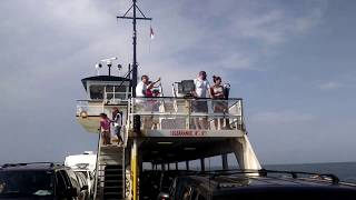 hatteras-ocracoke ferry ride includes views of the hatteras port where there are bathrooms, gift shops and restaurants. the line to enter, the ferry ride over & the drive off the ferry onto the barren salty island of ocracoke