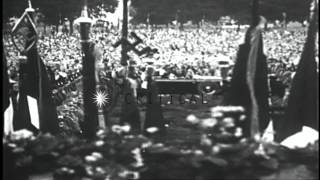 Gera Germany  city photos : Adolf Hitler speaks to crowd of workers at Gera, Thuringia, Germany HD Stock Footage