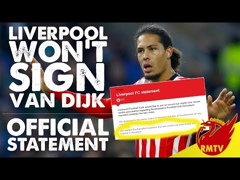 Liverpool Pull Out Of Virgil Van Dijk Transfer | Official Club Statement