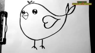 How to draw a cute little twitter bird.. easy and simple art