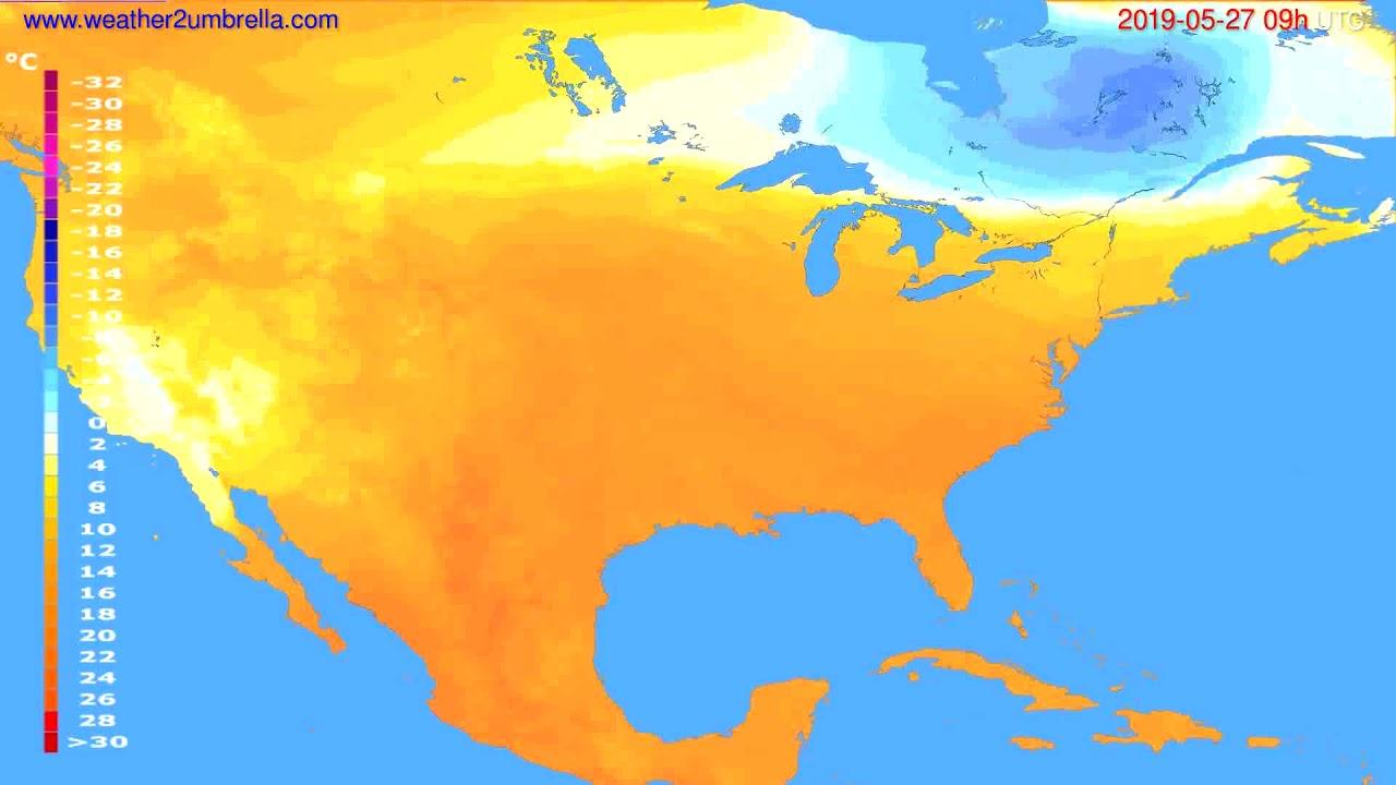 Temperature forecast USA & Canada // modelrun: 12h UTC 2019-05-25