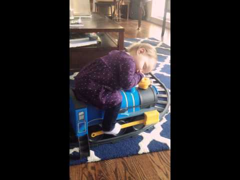 Baby Falls Asleep On Toy Train