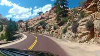 Zion Nationalpark. Onboard front view, real time. Video on map.