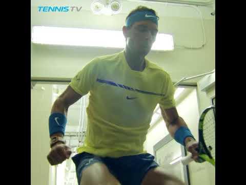 Rafa Nadal checks his surroundings in the Cincinnati tunnel