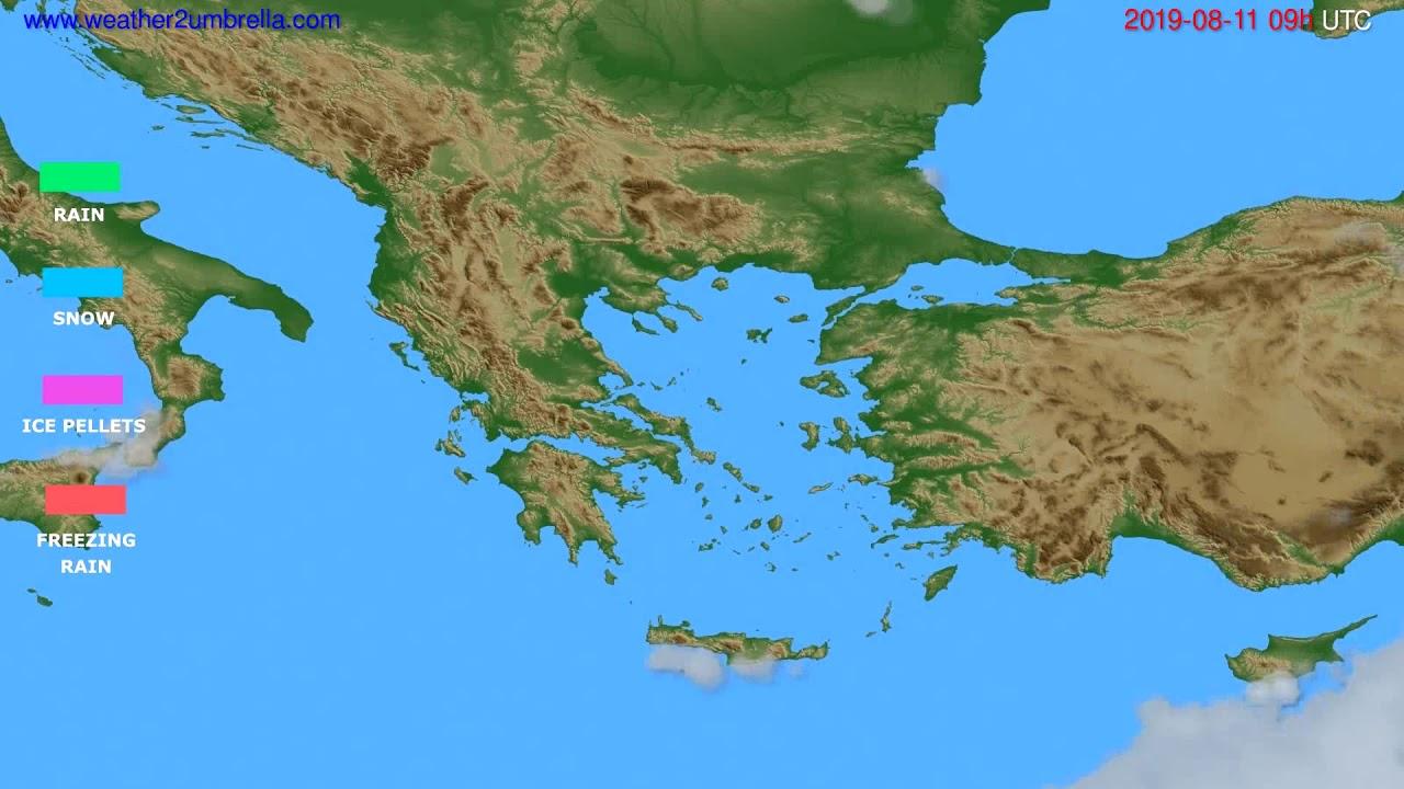 Precipitation forecast Greece // modelrun: 12h UTC 2019-08-09