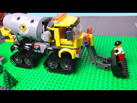 LEGO Cars experemental Concrete mixer truck, police car and monster truck Video for Kids