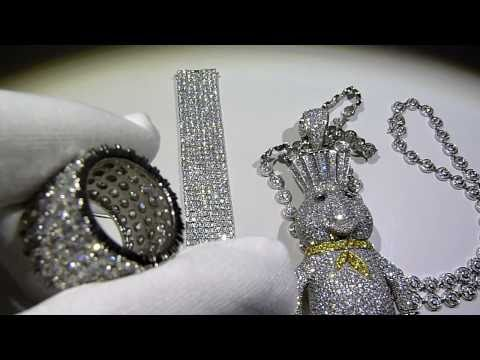$1750 COMBO DEAL! 925 SILVER Custom DOUGH BOY Lab Diamond Pendant combo! Lab Made Jewelry