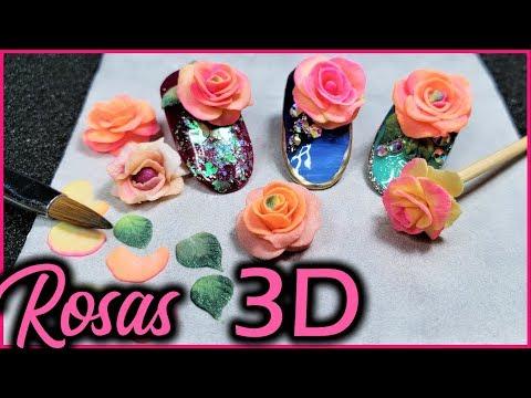 Diseños de uñas - como hacer flores 3D en acrilico paso a paso - como hacer rosas 3D en acrilico - 3D para uñas