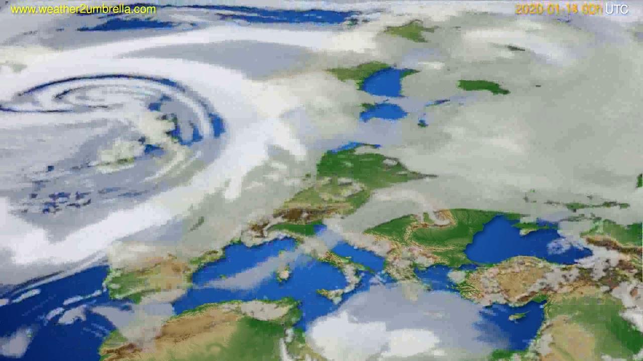 Cloud forecast Europe // modelrun: 00h UTC 2020-01-13