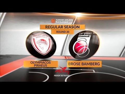 EuroLeague Highlights RS Round 20: Olympiacos Piraeus 83-77 Brose Bamberg