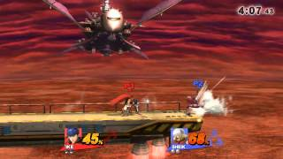 What happened to Shiek here? Ike's Eruption did not hurt her, but she was unable to grab the ledge