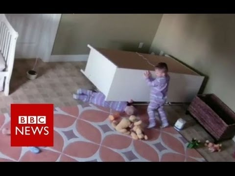 Video Boy, 2,  saves twin from falling furniture - BBC News download in MP3, 3GP, MP4, WEBM, AVI, FLV January 2017