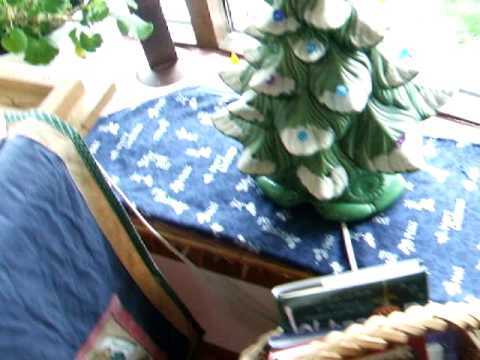 DINING ROOM DECORATED FOR CHRISTMAS WITH YARD SALE FINDS