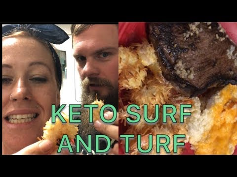 KETO COCONUT SHRIMP, STEAK, CHEESY CAULIFLOWER BAKE
