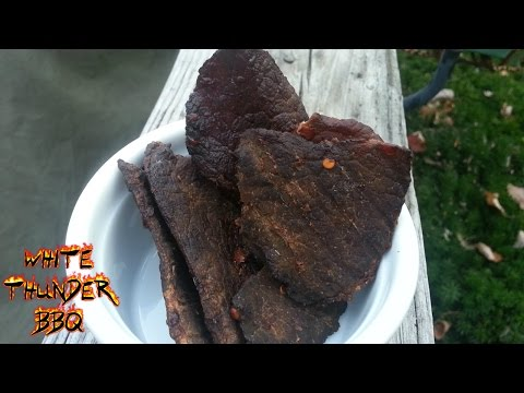 Smoked Beef Jerky recipe – How to make beef jerk on a mini Weber Smokey Mountain (mini WSM)