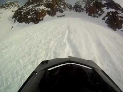 Snowmobile hill climb crash, helmetcam footage