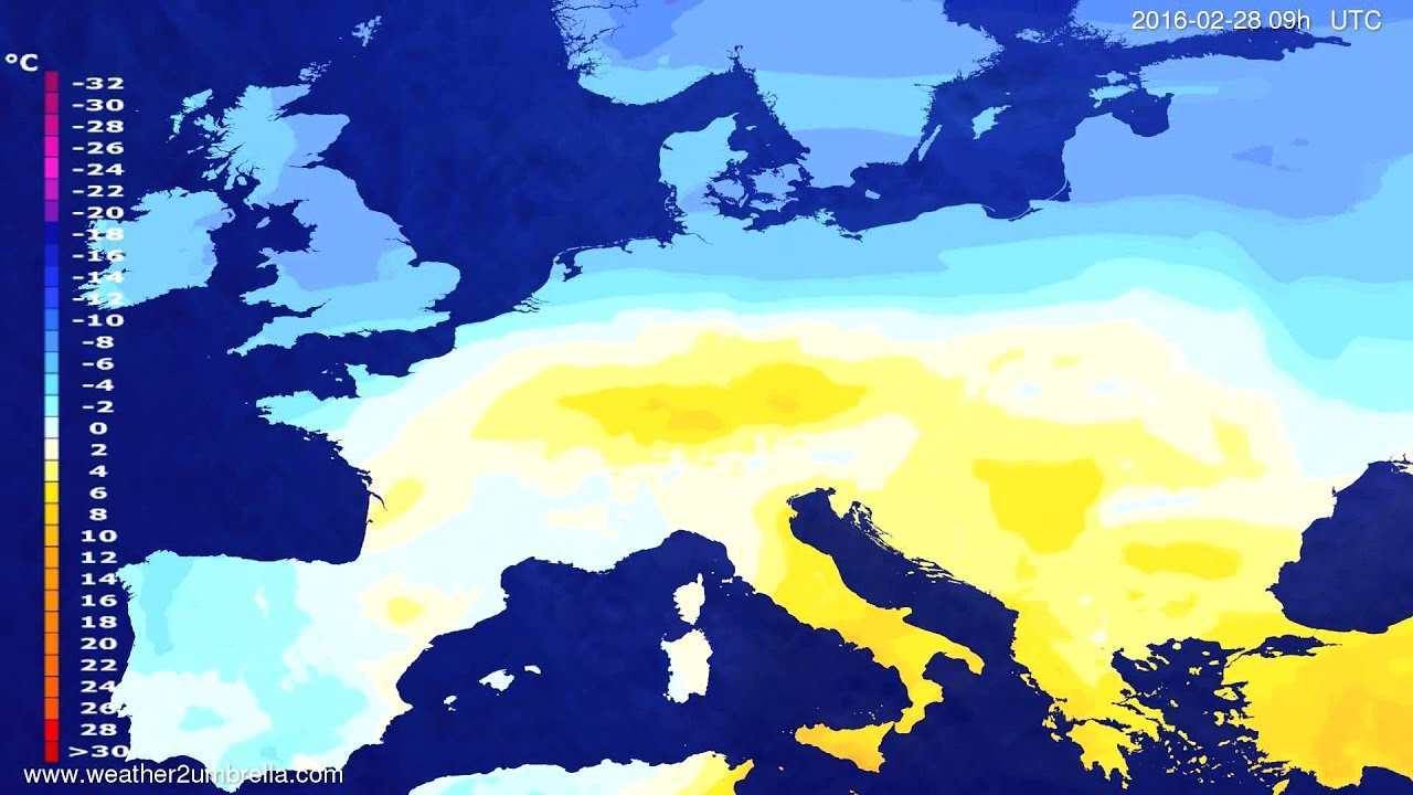 Temperature forecast Europe 2016-02-26
