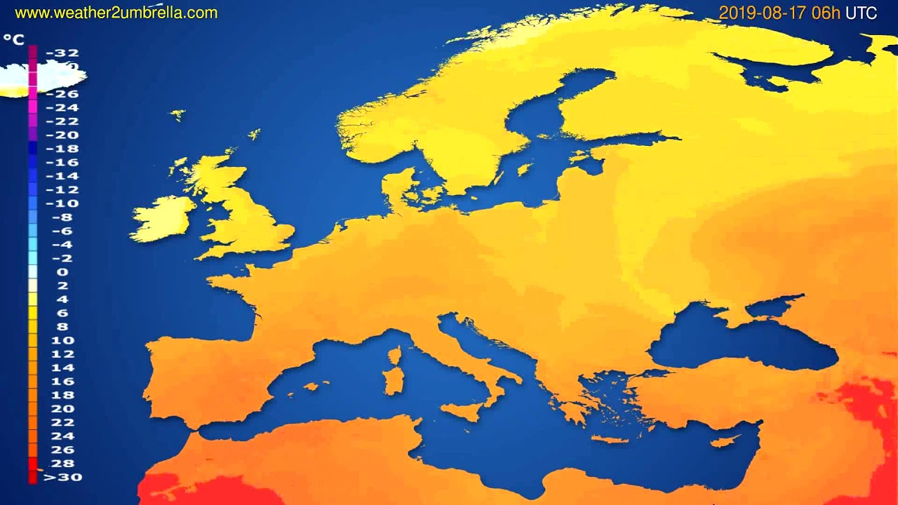 Temperature forecast Europe // modelrun: 12h UTC 2019-08-14