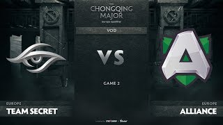 Team Secret vs Alliance, Game 2, EU Qualifiers The Chongqing Major