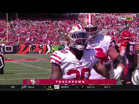 Jeff Wilson scores his first nfl touchdown 49ers vs Bengals