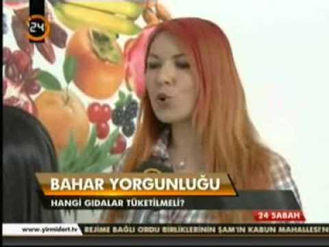 Diyetisyen ve Yaşam Koçu Gizem ŞEBER; 17 Nisan 2013'te Kanal 24 Sabah haberlerinde bahar yorgunluğunu yenen besinleri anlattı.