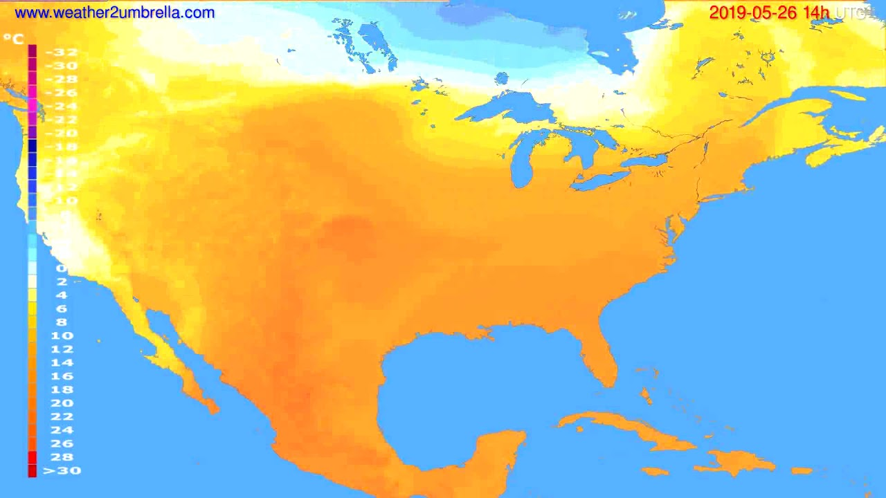 Temperature forecast USA & Canada // modelrun: 12h UTC 2019-05-23
