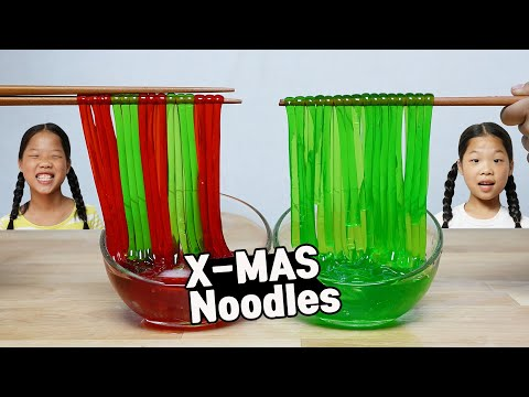 Mukbang 컬러누들 Christmas Color Noodle macarrão de natal mie natal ก๋วยเตี๋ยวคริสต์มาส TwinRoozi 쌍둥이루지