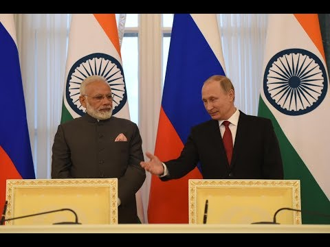 PM Modi with President of the Russia Vladimir Putin at Exchange of Agreements and Press Statements