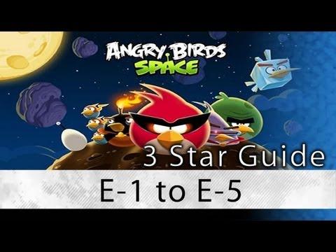 Angry Birds Space - Levels E-1 thru E-5 Eggsteroids Locations and Secret Levels 3 Star Walkthrough (видео)