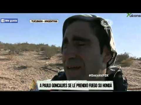 Moto de Paulo Gonçalves incendeia-se no Dakar 2014